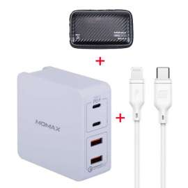 Momax Type-C PD Set, OnePlug 4 Port USB Fast Charger 66W + Lightning to Type-C Cable - White (VPD0044)