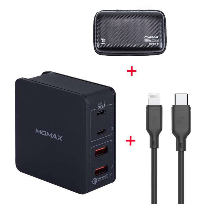 Momax Type-C PD Set, OnePlug 4 Port USB Fast Charger 66W + Lightning to Type-C Cable - Black (VPD0031)