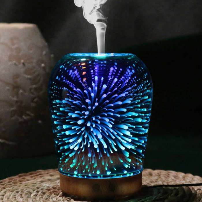 3D Glass Light Essential Oil Aroma Diffuser Ultrasonic Humidifier Aromatherapy