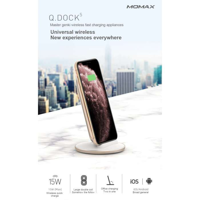 Momax Q. Dock 5 15W Fast Wireless Charger - White