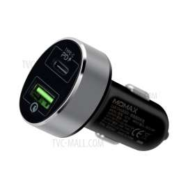 MOMAX UC10 Dual-Port QC3.0 with Type-C PD Fast Car Charger Black