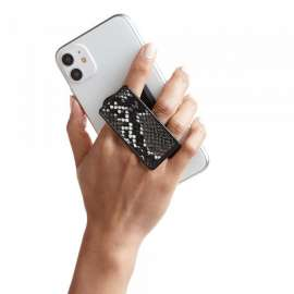 Handl Stick Phone Grip & Stand - Snakesin Leather Black & White