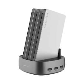 Powerology 3 in 1 Power Station 8000mAh with Built-In Cable - Silver