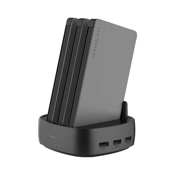 Powerology 3 in 1 Power Station 8000mAh with Built-In Cable - Black