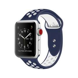 Apple Watch Sport Silicon Bands - Dark Blue / White