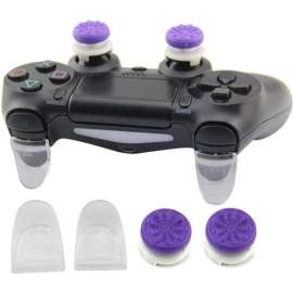 Analog Caps & Thumb Grip Extended Trigger for PS4	- Purple / White