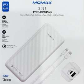 Momax Ipower Minimal PD5 External Battery Pack 20000 mAh Type-C Cable White