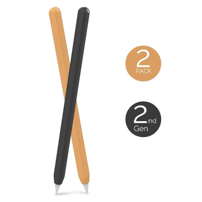 AHASTYLE  2Pcs Case Silicone Skin Apple Pencil 2nd Gen - Black & Orange