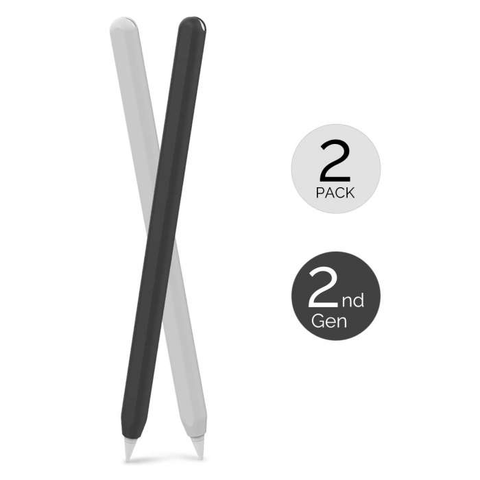 AHASTYLE 2Pcs Case Silicone Skin Apple Pencil 2nd Gen - Black & White