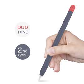 AHASTYLE Duotone Case Silicone Skin Apple Pencil 2nd Gen- Midnight Blue, Red