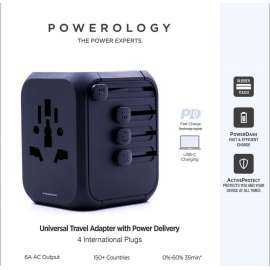 Powerology PD 18W Fast Charge + 2A USB Dual Output Universal Travel Adapter