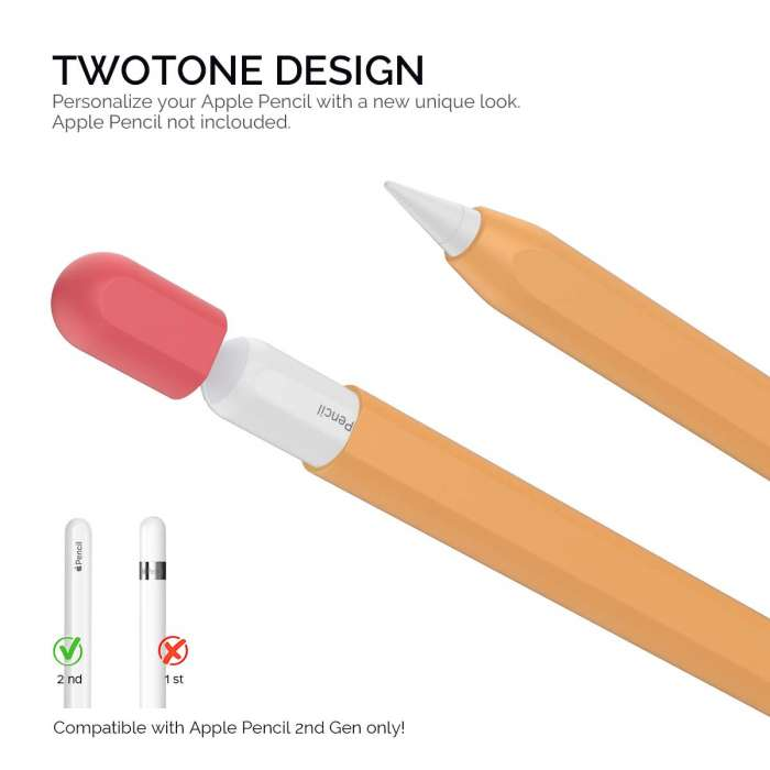 AHASTYLE Duotone Case Silicone Skin Apple Pencil 2nd Gen - Orange, Red