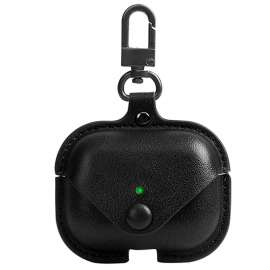 Apple AirPods Pro Protective Leather Keychain Case - Black