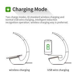 Phantom 2-in-1 Qi Standard Wireless Charging Pad with LED Desk Lamp with USB Charging Port