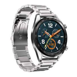 Galaxy Watch S3 & Huawei Watch GT& GT2 Stainless Steel Band - Silver (22mm)