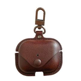 Apple AirPods Pro Protective Leather Keychain Case - Brown