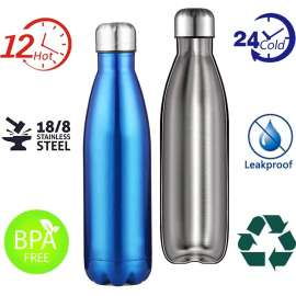 Stainless Steel Double-Wall Water Bottle (12hrs Hot / 24hrs Cold) - 750mL