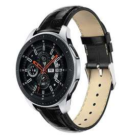 Galaxy Watch S3 & Huawei Watch GT& GT2 Leather Band - Black (22mm)