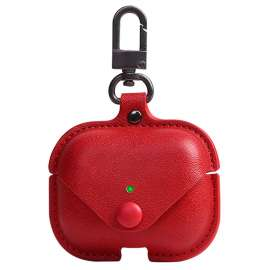 Apple AirPods Pro Protective Leather Keychain Case - Red