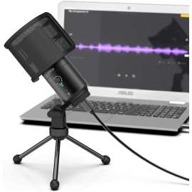 FIFINE USB Desktop Microphone with Pop Filter for Computer and Mac K683A