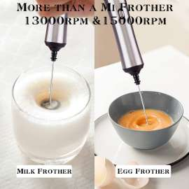 Milk Frother Stainless Steel Handheld Electric & Rechargeable