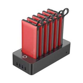 Powerology 10000mAh 6in1 Power Bank Station Red