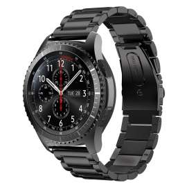 Galaxy Watch S3 & Huawei Watch GT& GT2 Stainless Steel Band -  Black (22mm)
