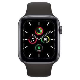 Apple Watch SE GPS 44mm Space Gray Aluminium Case with Sport Band Black