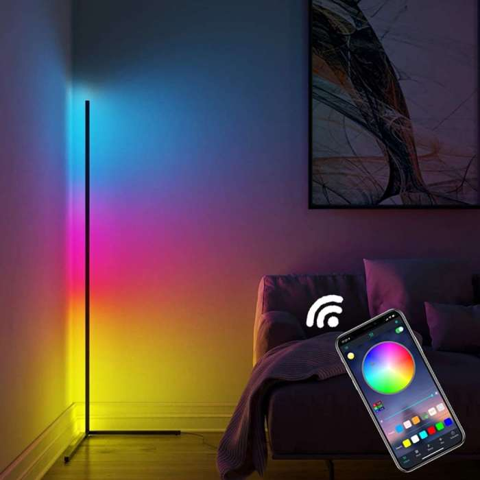 Corner Floor Lamp RGB With Remote & Phone App Control Dimming Standing For Decoration (20W) - Black