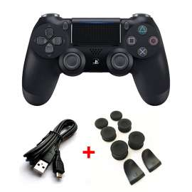 PlayStation 4 DualShock 4 Wireless Controller - Black + USB Cable + Kontrol Freek