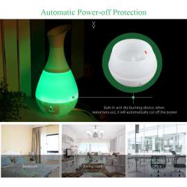 Aroma Humidifier Wood With 7 Colorful Light Big V2 - AJ-219 White