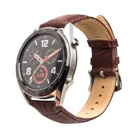 Galaxy Watch S3 & Huawei Watch GT& GT2 Leather Band - Dark Brown (22mm)