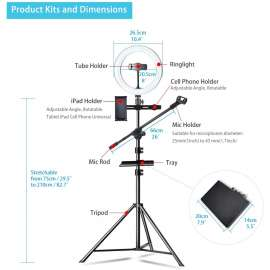 LED Ring Light 10inch with Microphone Holder Stand