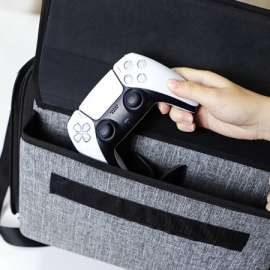 PS5 Travel Case Bag Storage for Console Wireless Controller Hard Case Game - Grey