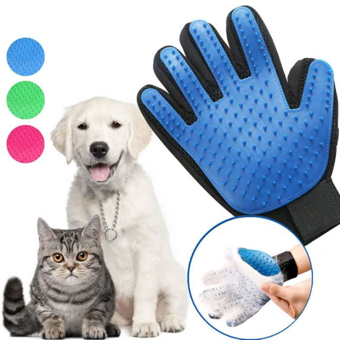 True Touch Five Finger Deshedding Glove for Pets Dog & Cat
