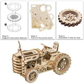 ROKR 3D Tractor Mechanical Wood Puzzle Game kits - 135Pcs