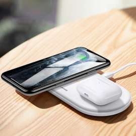 USAMS Dual Coil Wireless Charger for Mobile Phones and Airpods
