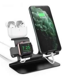 AhaStyle 3in1 Aluminum Stand for SmartPhone/Apple Watch/Airpods (Black)