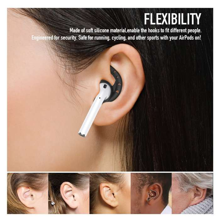 AHASTYLE AirPods & Earpods Ear Hooks Silicone - Black