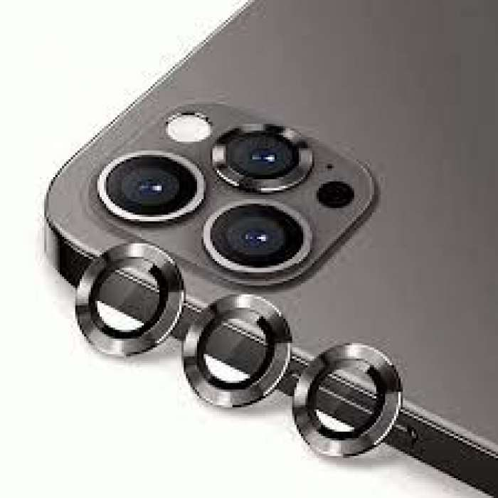 Alloy Glass Camera Lens Protector for iPhone 12 Pro Max (6.7 inch) - Black
