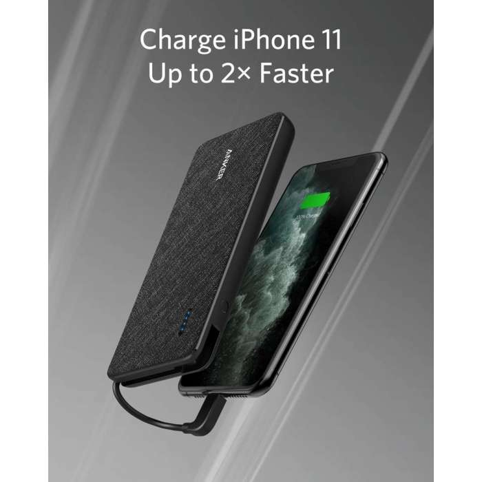 Anker PowerCore+ 10000 with built-in Lightning Cable -Black Fabric