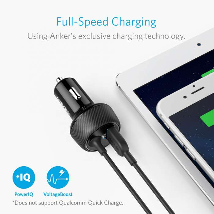 Anker PowerDrive 2 Elite Dual-Device Car Charger with Lightning Cable