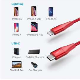 Anker PowerLine + II USB-C to Lightning Cable (0.9m/3ft) - Red
