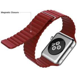 LEATHER LOOP STRAP FOR APPLE WATCH 42/44mm - Red