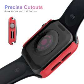 Apple Watch Tempered Glass + Case - Red (38to44mm)