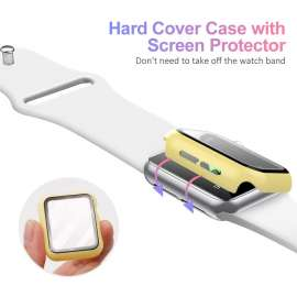 Apple Watch Tempered Glass + Case - Yellow (38to44mm)