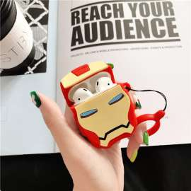 AirPods Case Soft Silicone Shockproof Cover - 3D Shape Iron Man