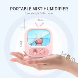 TV Shaped Night Light Colorful Mist Humidifier Diffuser - Beige