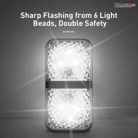 Baseus Pack Door Signal Light Scratch Protector LED Flashing Light - White (2Pcs)