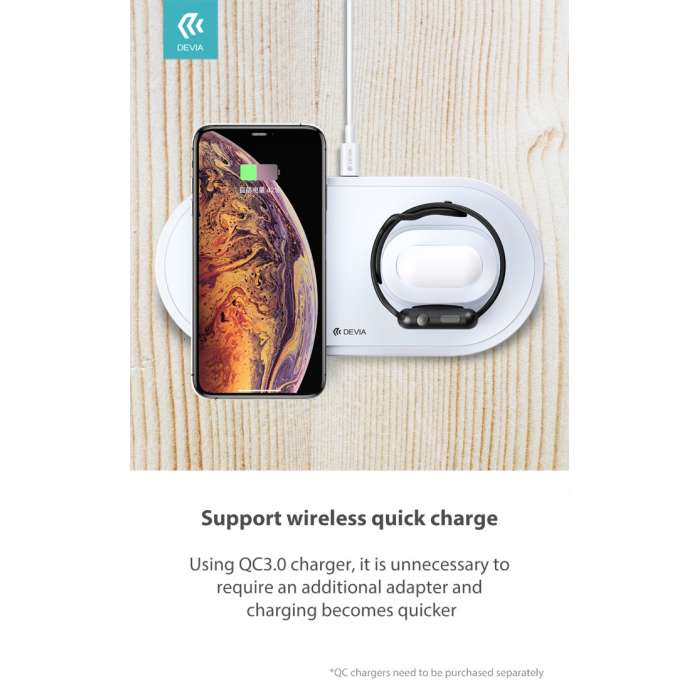 Devia 3 in 1 Wireless Charger for Smart Phone / Apple Watch & Airpods